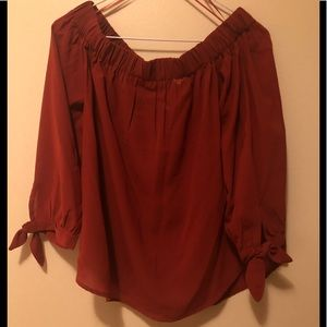 Orange Off-the-shoulder Blouse with Tie Sleeves